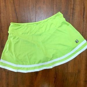Fila Lime Green Striped Tennis Skirt Skort Women L